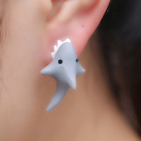 Free Ship 1Pair New  Handmade Polymer Clay Cute Shark Earrings Ear Stud jewelry brincos