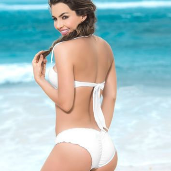 White Scalloped Bikini Bottom