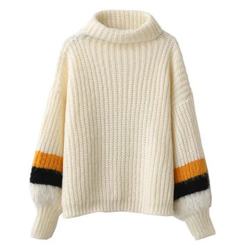 White Striped Lante Sleeve Sweater