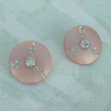 Pink Thermoset Rhinestone Button Clip Earrings c1950s Vintage Jewelry
