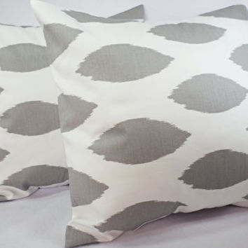 2 Decorative Throw Pillow Covers - Grey and White Ikat Print - 18 x 18 inches Cushion Cover Accent Pillow