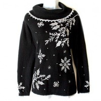 Longer Length Big Collar Tacky Ugly Christmas Sweater Women's Size Large (L) $25 - The Ugly Sweater Shop