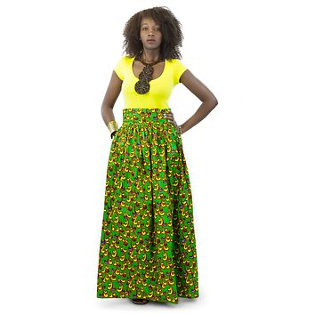 African Maxi Skirt - Vine Floral Yellow and Green