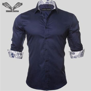 Men's Shirt 2017 New Arrivals Fashion Casual Style Long Sleeve Solid 100% Cotton Slim Fit Dress Male Shirts N780