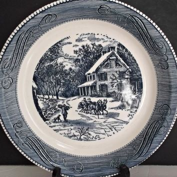 Royal China Jeannette Deep Dish Pie Plate Currier and Ives Winter Sleigh Ride