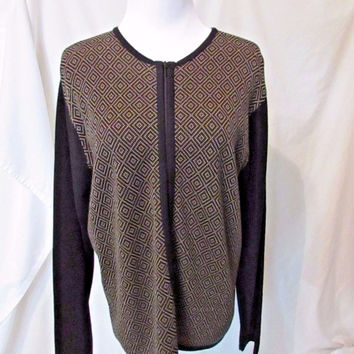 Talbots Zipper Cardigan Sweater Women's Large Tan Black Geometric Design Italy