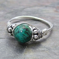 Chrysocolla Bali Sterling Silver Wire Wrapped Ring ANY size