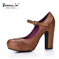 Donna-in fashion ladies shoes  platform high heel pumps genuine leather women's shoes retro carved thick heel Mary Jane shoes