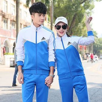 Adidas Fashion Casual Multicolor Stitching Stripe Unisex Long Sleeve Zip Cardigan Couple Sweater Set Two-Piece Sportswear-2