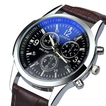 3 Eyes Black Dial Mens Watches Top Brand Luxury Faux Leather Analog Quartz Watch Discount Business Watches For Men Relogio