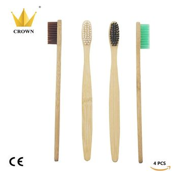 4 Pieces/lot Mixed Color Crown Environmentally Wood Toothbrush Novelty Bamboo Toothbrush Soft-Bristle Capitellum Bamboo Fibre