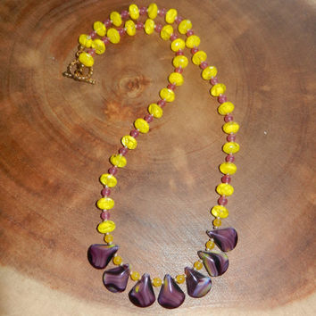 Purple Beaded Necklace, Yellow Beaded Necklace, Spring Necklace, Summer Necklace, Toggle Clasp Necklace. 20 Inch Necklace