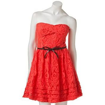 City Triangles Lace Strapless Dress