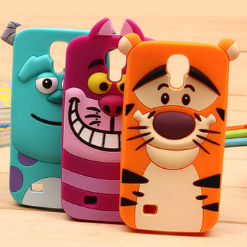 For S4 S5 S6 S7 S3 Cases For Samsung Galaxy S3 Mini S4 Mini Note 3 4 A3 A5 A7 Cute Sulley tiger Alice Cat Silicon Phone Case