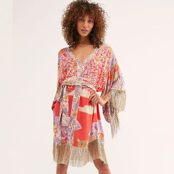 Floral Print Mini Dress Kimono Style Casual Women Dresses V-neck Tassel Hem Hippie Chic Boho Dress Beach Dresses