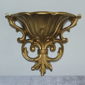 Burwood ornate gold wall pocket decor sconce - Wall decor, gold decor, ornate sconce, Hollywood Regency, planer vase