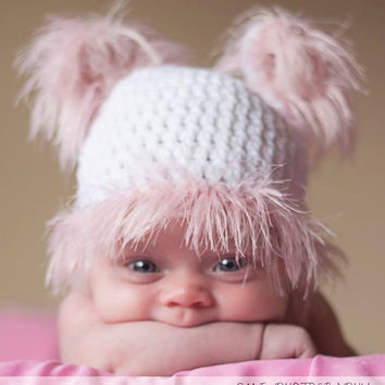 crochet pink teddy hat newborn photo prop, free shipping, pink fur hat and, great gift idea,baby shower gift