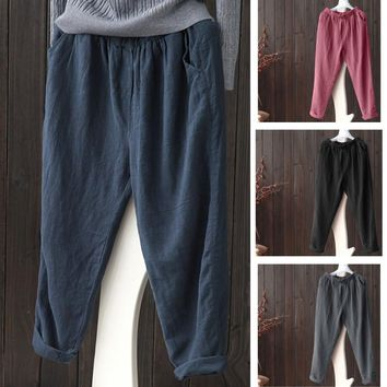 Plus Size Women Linen Harem Pants Baggy Loose Trousers Casual Lady