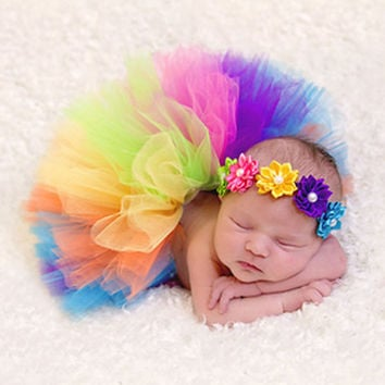 Baby Newborn Photography Props Peacock Handmade Baby Tutu Rainbow Crochet Beanie Beaded Cap Baby Photography Props