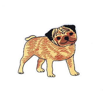 Pug Dog Applique Iron on Patch Size 7.7 x 6.5 cm