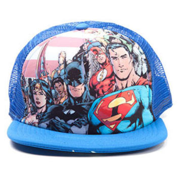 Justice League Of America Men's  Stripes Trucker Cap Blue Rockabilia