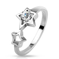 Starfall - Double stars with white cubic zirconia solitaire silver stainless steel ring