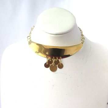 Bohemian Coin Choker, Gold Brass Adjustable Choker