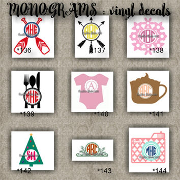 MONOGRAM vinyl decals | name | initial | decal | sticker | car decals | car stickers | laptop sticker - 136-144