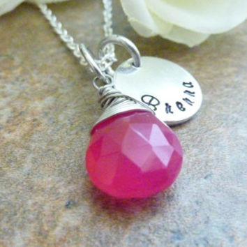 Hot Pink Necklace Wire Wrapped Fuchsia Personalized Necklace Bright Pink chalcedony teardrop briolette