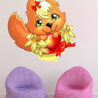 kcik185 Full Color Wall decal squirrel animal hearts children's bedrom