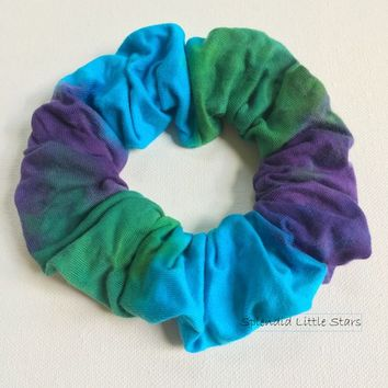 Cotton Scrunchie, hand dyed, tie dye scrunchie, ponytail, turquoise, emerald green, purple, soft for hair