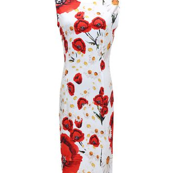 Streetstyle  Casual Glamorous Round Neck Floral Printed Bodycon Dress