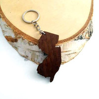 New Jersey shape Wooden Keychain, Walnut Wood, USA States,  Custom Engravable Keychain, Environmental Friendly Green materials