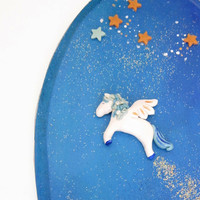 Blue Pegasus wall decor wall hanging kid's room by FlowerLandShop