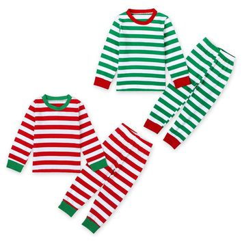 Kids Christmas striped pajamas PJs set / boys or girls / 2 colors / sizes 2T-7