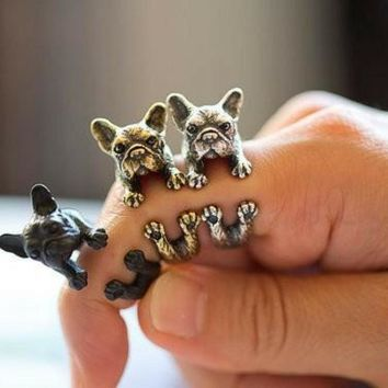 Handmade French bulldog ring Ring Fashion Antique