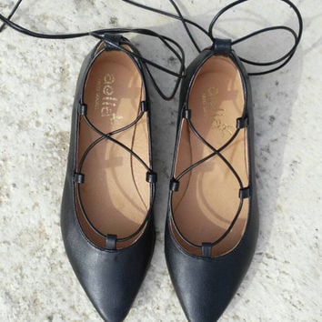 Lace up flat shoes ,handmade,leather shoes,black