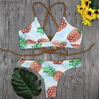Bandage Bikinis Swimwear Strappy Pineapple Print Bathing Suits