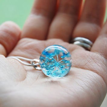 Mini Real Flower Necklace Blue Resin Ball Orb Globe Pressed Flower Jewelry Crystal Clear Petite Dainty Gift for Her