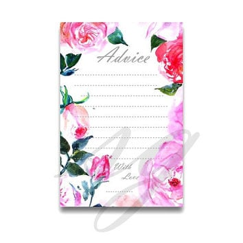 Advice for the bride to be, Pink fuschia watercolor roses, Printable cards,  Weddings boho chic card, floral shower, gold silver 4x6 5x7