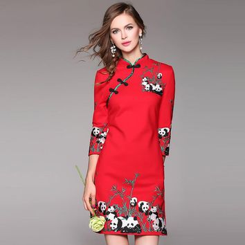 woman short Pencil dress 2016 new spring autumn elegant Vintage Party Dress fashion embroidery Clothing S XXL flower dresses red
