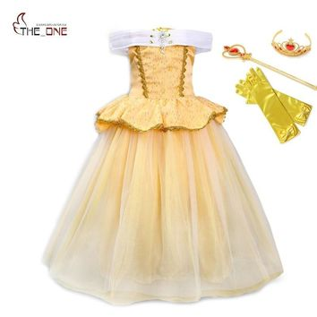 MUABABY Girls Belle Princess Dress up Clothing Kids Summer Sleeveless Beauty and The Beast Cosplay Costume Christmas Ball Gown