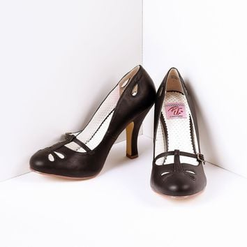 Black Pleather Cut Out Strap Smitten Mary Jane Heels