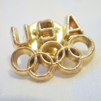 USA Olympics Lapel Pin Los Angeles 1984 Olympic Games Gold Tone Unisex Jewelry