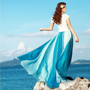 Women Fashion Double Colors Patchwork Bohemian Chiffon Long Skirt Retro Long Maxi Skirt Vintage Dress 5 Colors = 1928636484