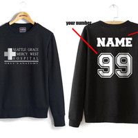 Custom back Seattle Grace Mercy West Hospital Black Crew neck Sweatshirt