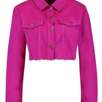 Magenta Denim Jacket | Boohoo