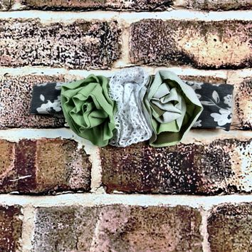 RTS Green and Gray Floral Headband