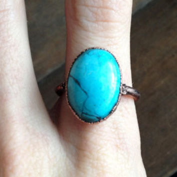 Blue Oval Howlite Ring - Size 8