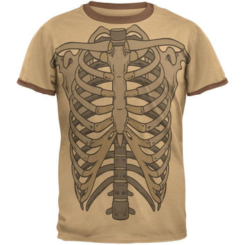 Rib Cage All Over Tan Adult T-Shirt